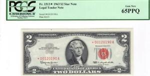 Fr. 1513* $2.00 1963 Red Seal Star Legal Tender PCGS Gem NEW 65 PPQ