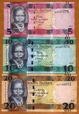 SET South Sudan, 5;10;20 Pounds, 2015, Pick 6b-7b-13 New colors, sig. UNC