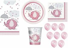 GIRL UMBRELLAPHANTS BABY SHOWER PACK 16 NAPKINS PLATES CUPS TABLECOVER 57 ITEMS