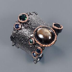 Black Star Sapphire Ring Silver 925 Sterling Handmade Ring Size 8 /R135009