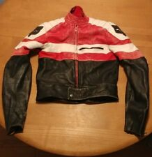 FOX Racing Leather Motorcycle Jacket  Black Red Youth Size 36 Inch Chest