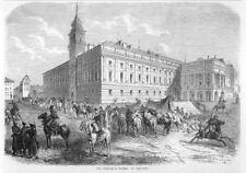 Warschau, Warszawa, Polen, der Schlossplatz, Original-Holzstich von 1861