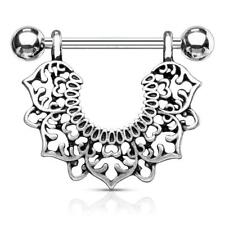316L Surgical Steel Silver Plated Nipple Ring Shield with Filigree Flower Dangle