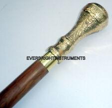 """Vintage Nautical Brass Round Handle Brown Wooden Walking Stick 36"""" Twist Cane"""