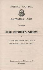 Arsenal Football Club v Surrey County Cricket Club 8/4/1953 quiz programme