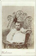 Amsterdam New York Baby Girl Posing in Holmes Studio 1890s Cabinet Photo