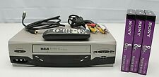Rca Vr637Hf 4-Head Hi-Fi Stereo Vhs Vcr w/Remote Cables & 3 Blank Tapes ~Working
