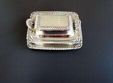 Vtg 50s : Rogers Bros Silver Plated Cigarette Box w Lid  2 Ashtrays  Trinket Box