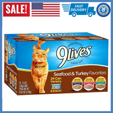 9 Lives Turkey & Seafood Favorites Wet Cat Food Variety (24 Pack), 5.5 Oz NEW