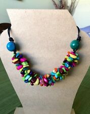 All-Natural Tagua Seeds Colorful Necklace