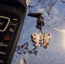 Rhinestone Butterfly Purple Cell Phone Charm~Dust Plug Cover~Free Ship