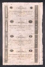 1810s $1/$2/$3 The Farmers Bank of Bucks County, PA Uncut Four Bank Note Sheet