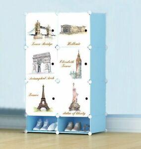 Keraiz Blue Monument Printed Interlocking Foldable 9 Cube Cabinet with Shoe Rack
