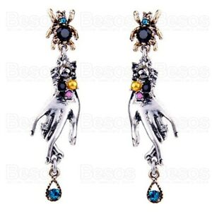 FORTUNE TELLER HANDS EARRINGS silver gold art deco crystal spider RETRO GIFT UK