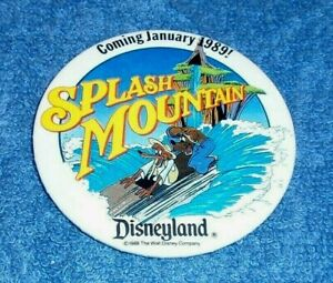 1988 DISNEYLAND SPLASH MOUNTAIN COMING JANUARY 1989! PRE-OPENING BUTTON
