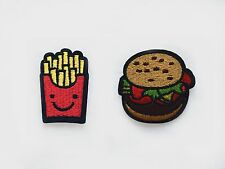 2x Hamburger + French Fries PATCHES  Iron On Embroidered Applique yummy fastfood