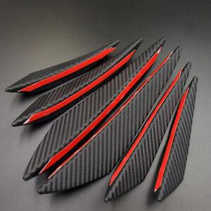 6pcs Universal Spoiler Carbon Fiber Car Front Bumper Fin Splitter Canard Refit