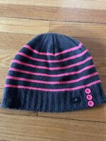 Girls Winter Beanie Hat One Size Gray And Pink Striped