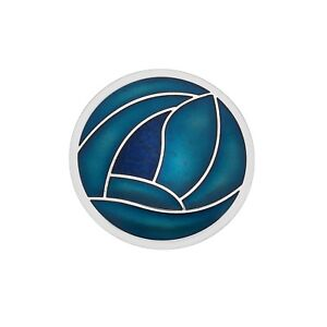 Turquoise Mackintosh Rose Brooch Round Silver Plated Brand New Gift Packaging