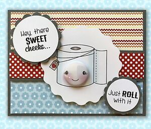 Darcie's clear acrylic stamp set & tin pins -  ROLL WITH IT, Made in USA