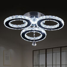 Modern Crystal Chandeliers 3 Rings Ceiling Light Fixture Stainless Steel Pendant
