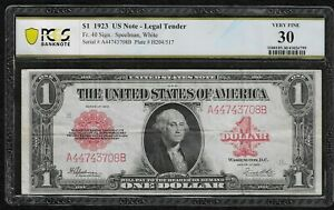 """1923 $1 Large United States Note Legal Tender *Red Seal* """"PCGS VF30"""""""