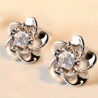 Women Round Cut White Sapphire Flower Stud Earrings 925 Silver Wedding Ear Studs
