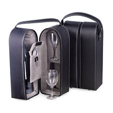 Bey-Berk Wine Caddy w/ Two Glasses, Stopper / Opener, Black Leather Case