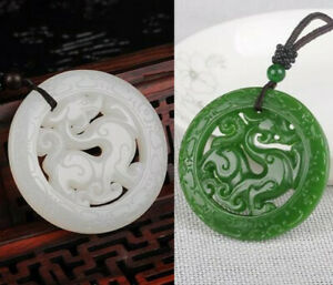 Statue  Dragon Necklace Pendant Jewelry Amulet Natural Green White Jade