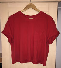 H&M Divided Red Cropped Cotton T Shirt Large BNWT