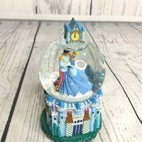 "Disney Cinderella Prince Dance Snow Globe Noon Clock 5"" Castle Believe Small"