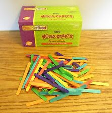 """500 CHENILLE COLORED WOOD POPSICLE CRAFT STICKS  4-1/2"""" x 3/8"""" PARROT BIRD TOYS"""
