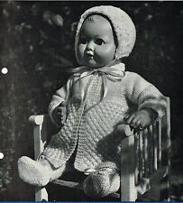 "Dolls clothes knitting pattern. Layette for 16"" Baby doll. ( V Doll 145)"