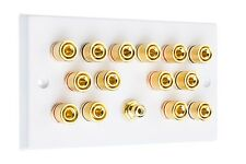 Blanco 7.1 Surround Sound Speaker Placa De Pared Con Oro postes + Rca Socket