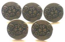 5 BOUTONS DE COSTUME métal argent vieilli 17 mm