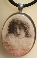 Vintage Girl Glass Resin Photo Pendant in a Silver Plated Bezel