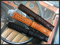 20mm Dark Brown Rally GT Sport racing Buffalo leather watch band strap IW SUISSE