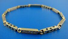 CARTIER 18K 750 YELLOW GOLD ENAMEL DIAMOND LINK CHAIN BRACELET PANTHER STAMPED