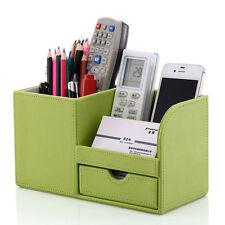 Office Supply PU Leather Desk Organizer Stationery Holder Storage Box Green