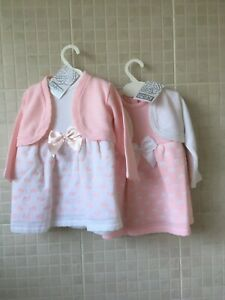 PEX Baby Girls Spanish Style  Dress and cardigan Knitted pink/white hearts