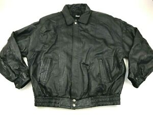 Wilsons Jacket Size 2XLT XXLT Black Leather Bomber Coat Insulated Men THINSULATE