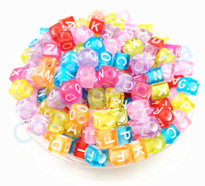100pcs 6mm Acrylic Mixed Color Alphabet Letter Coin Square Flat Spacer Beads