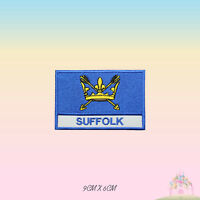 SUFFOLK UK County Flag With Name Embroidered Iron On Patch Sew On Badge