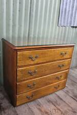 A Rustic Oak Chest of Drawers with Fitted Glass Top