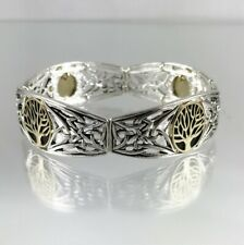 Impressive Detailed Two Tone Tree of Life and Celtic Knot Stretch Bracelet
