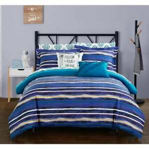 Twin Full Bed Bag Blue Purple Yellow Southwest Stripe Tribal 9 pc Comforter Set