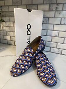 Aldo Tralisien Navy Textile Print Men's Loafers Slip On Size 9.5 New