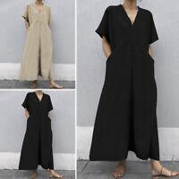 Summer Women Baggy Half Sleeve Vintage Casual Cocktail Dresses Long Maxi Dress