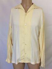 Nat Nast Luxury Originals Long Sleeve White & Yellow Silk Shirt Men Size Medium