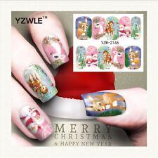 Nail Art Water Decals Stickers Christmas Bambi Reindeer Rudolf Santa (a146)